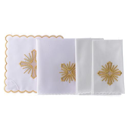 Servizio da altare cotone croce raggi ricamo dorato 2