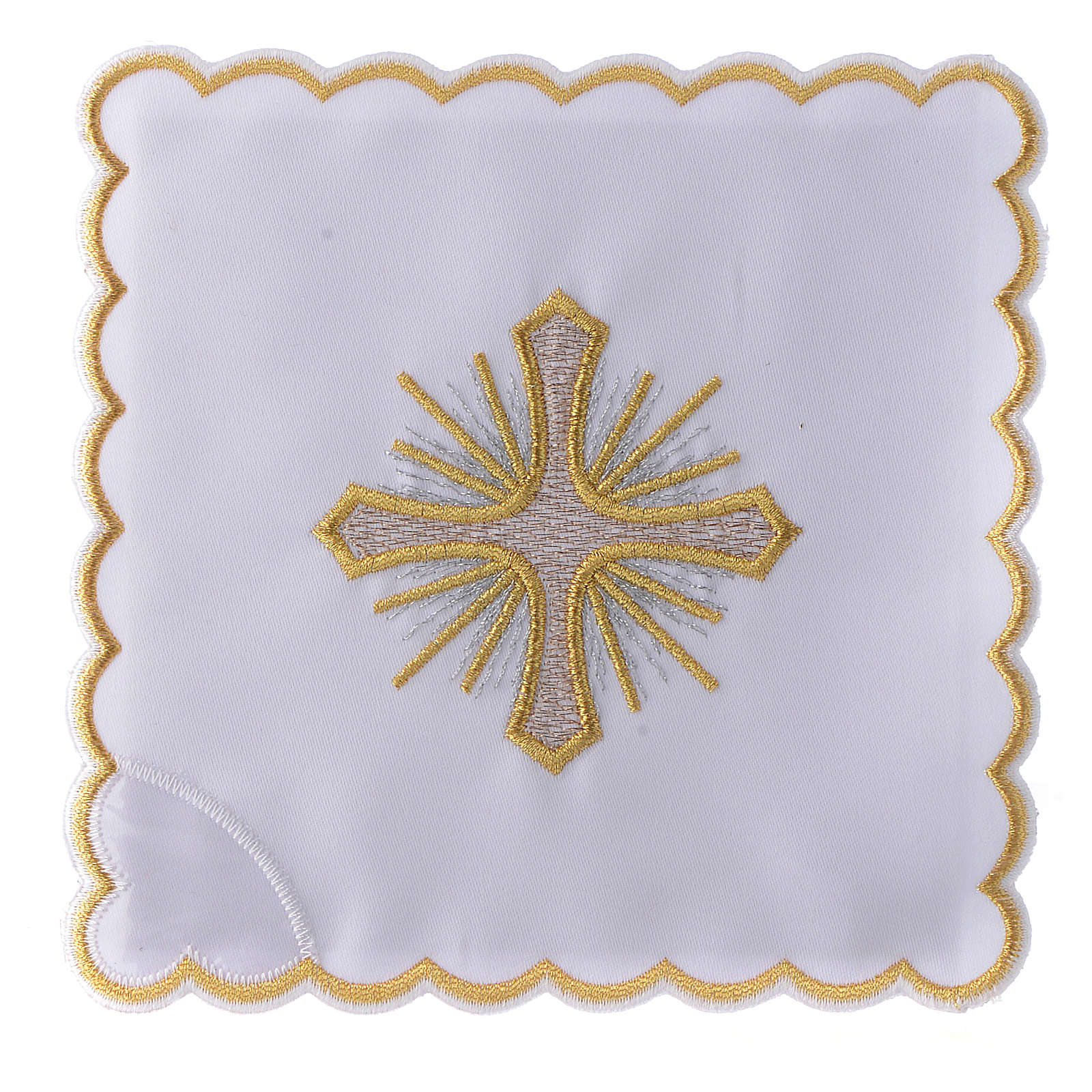 Altar linen cross rays and golden embroideries, cotton 4