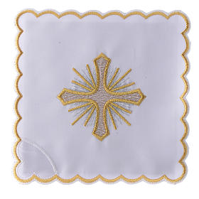 Altar linen cross rays and golden embroideries, cotton s1