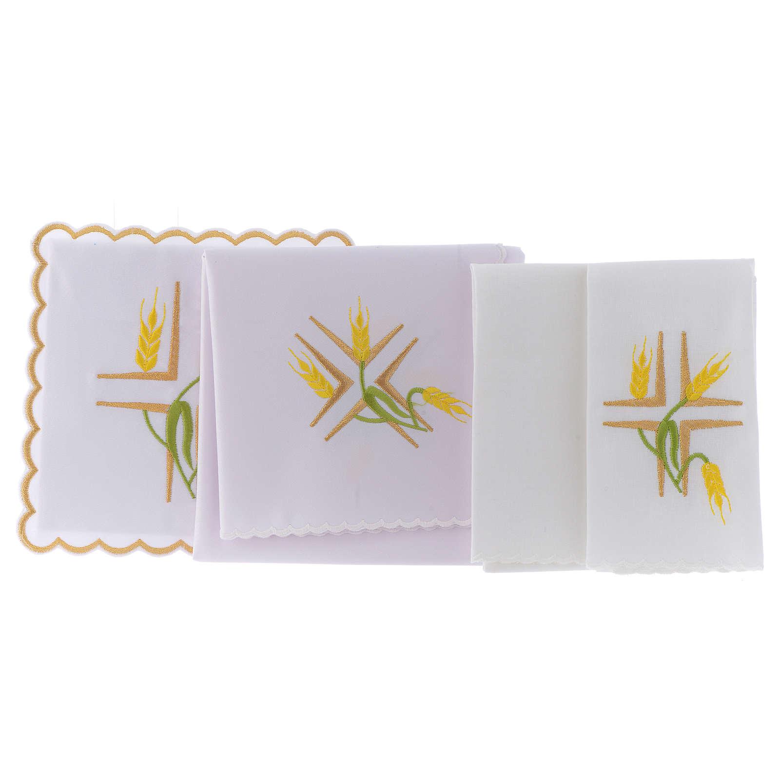 Linge autel coton épis jaunes et tiges vertes 4