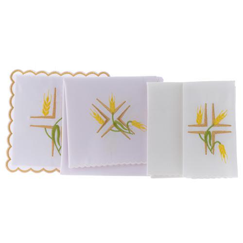Linge autel coton épis jaunes et tiges vertes 2