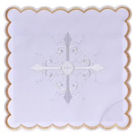 Altar linen white embroideries and baroque cross, cotton s1