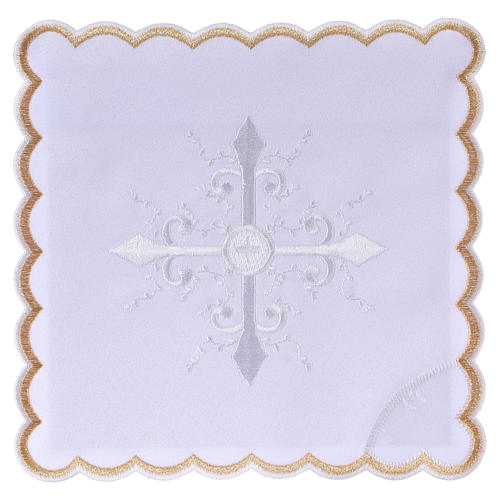 Altar linen white embroideries and baroque cross, cotton 1