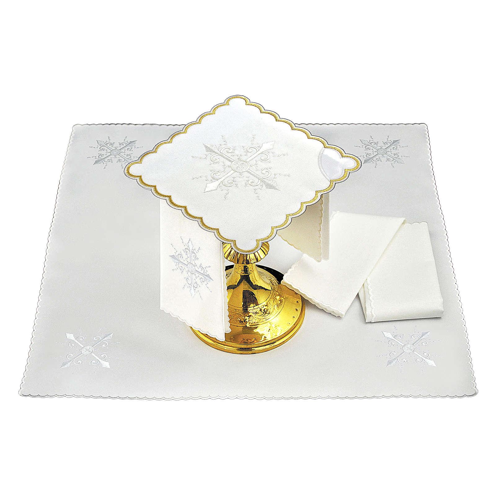 Servizio da altare cotone ricamo bianco croce barocca 4