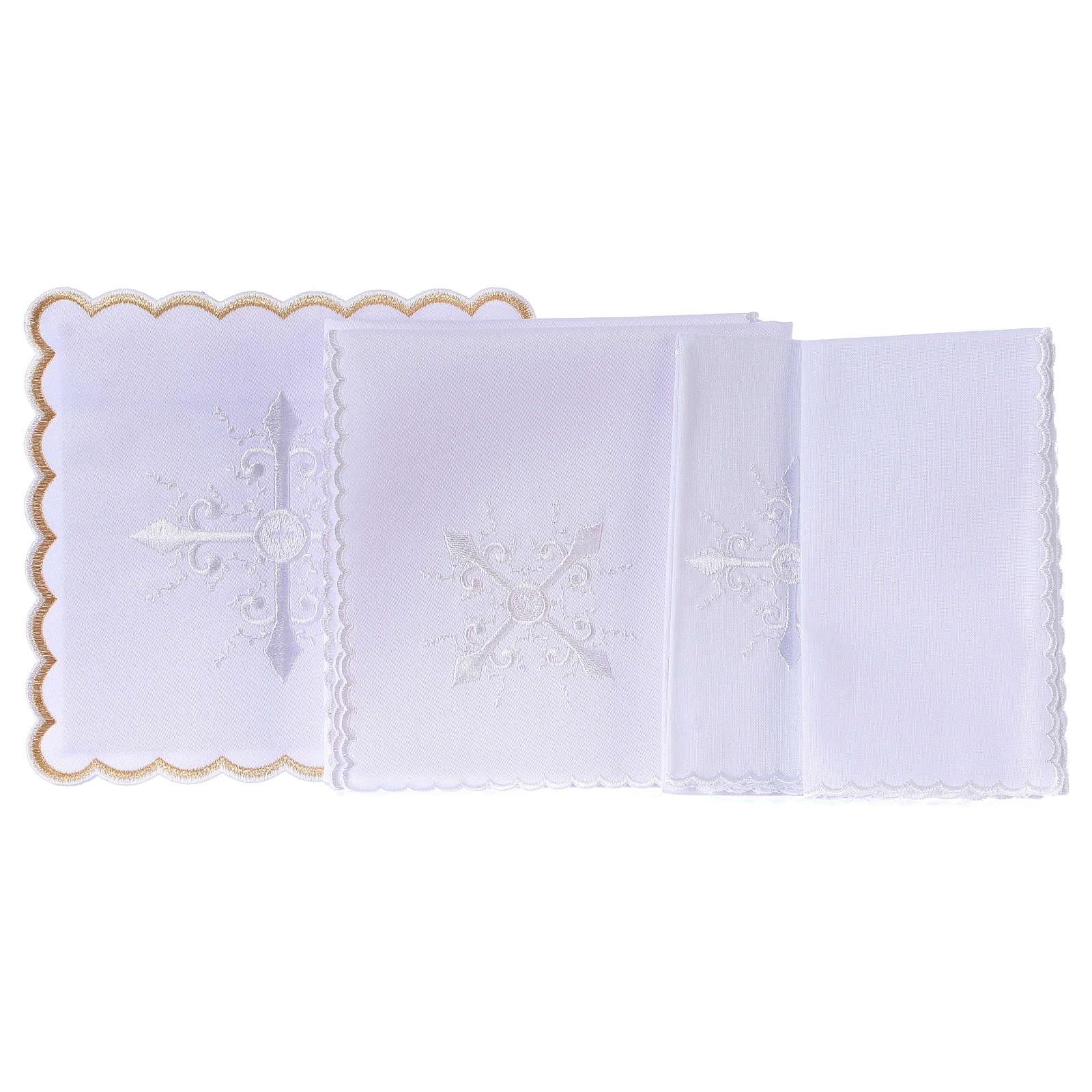 Conjunto alfaia litúrgica algodão bordado branco cruz barroca 4