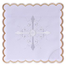 Conjunto alfaia litúrgica algodão bordado branco cruz barroca s1