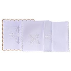 Conjunto alfaia litúrgica algodão bordado branco cruz barroca s3