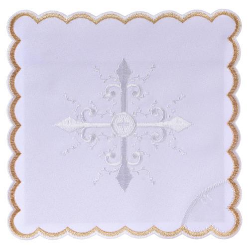 Conjunto alfaia litúrgica algodão bordado branco cruz barroca 1