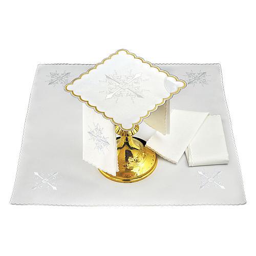 Conjunto alfaia litúrgica algodão bordado branco cruz barroca 2