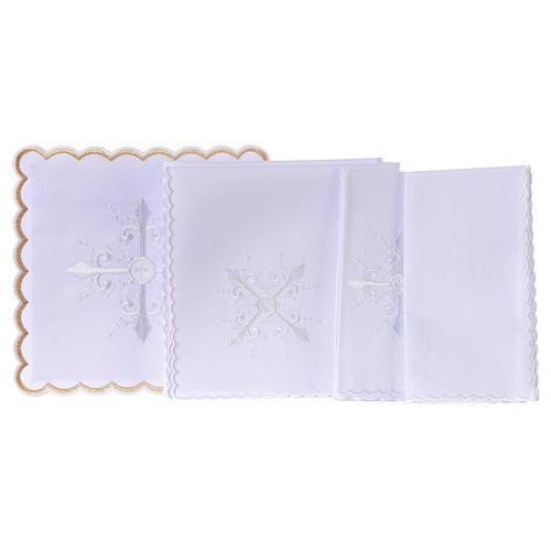 Conjunto alfaia litúrgica algodão bordado branco cruz barroca 3