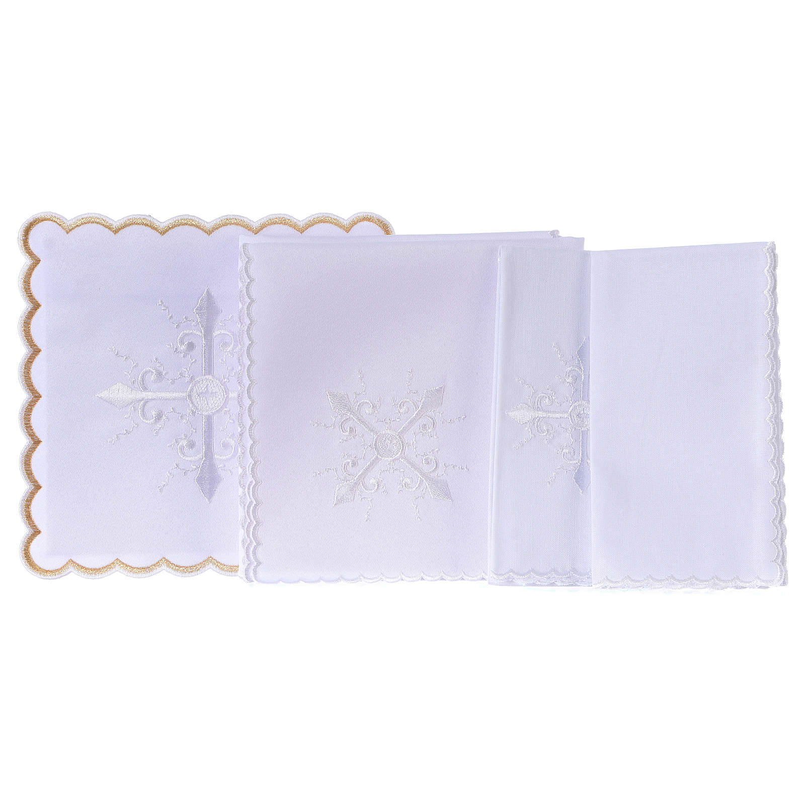 Altar linen white embroideries and baroque cross, cotton 4