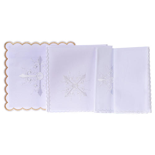 Altar linen white embroideries and baroque cross, cotton 3