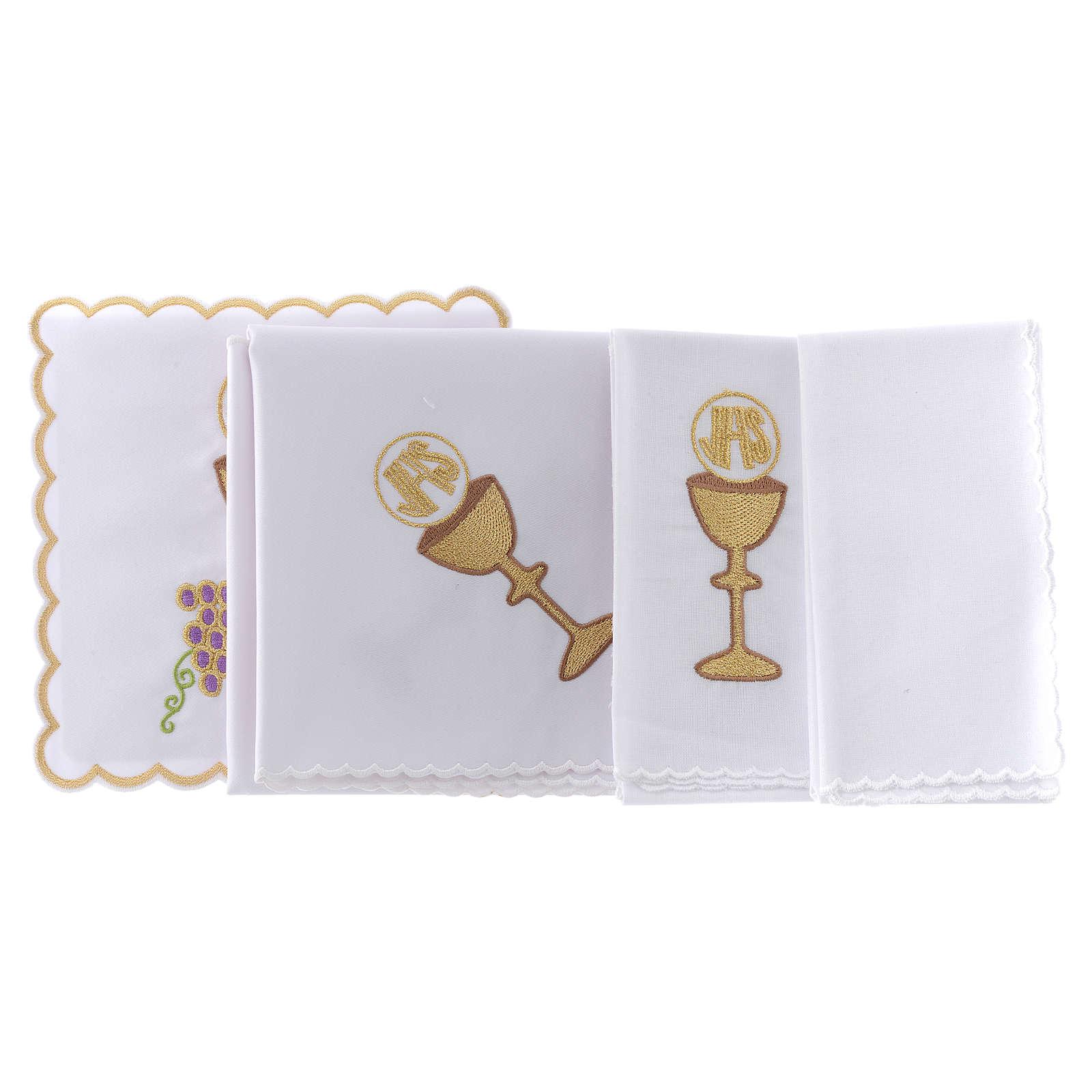 Linge autel coton raisin contours dorés calice hostie IHS 4