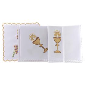 Linge autel coton raisin contours dorés calice hostie IHS s2