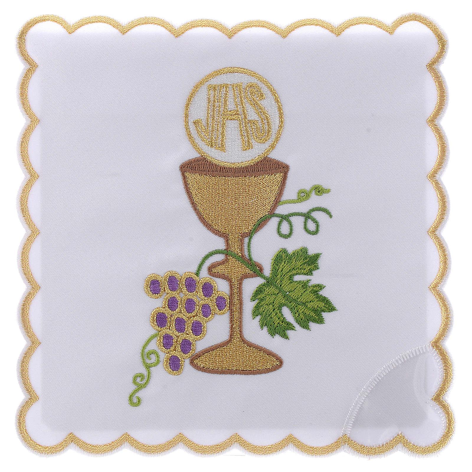 Servizio da altare cotone uva contorni dorati calice ostia JHS 4