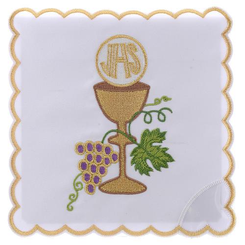 Servizio da altare cotone uva contorni dorati calice ostia JHS 1