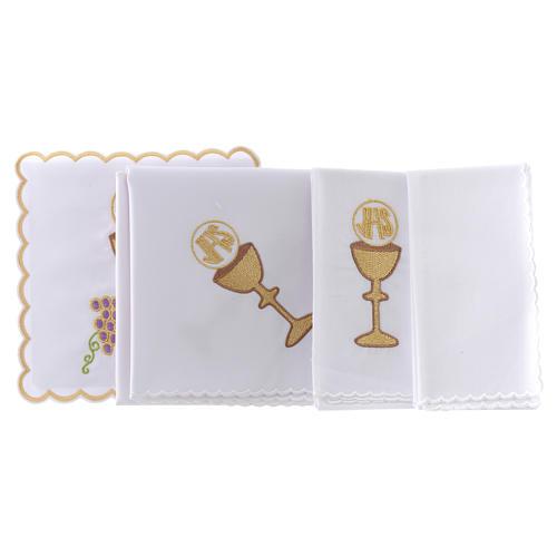 Servizio da altare cotone uva contorni dorati calice ostia JHS 2
