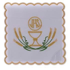 Servicio de altar algodón espigas estilizadas amarillo oro verdes cáliz JHS s1