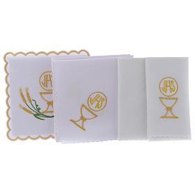 Servicio de altar algodón espigas estilizadas amarillo oro verdes cáliz JHS s2