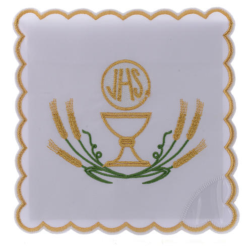 Servicio de altar algodón espigas estilizadas amarillo oro verdes cáliz JHS 1