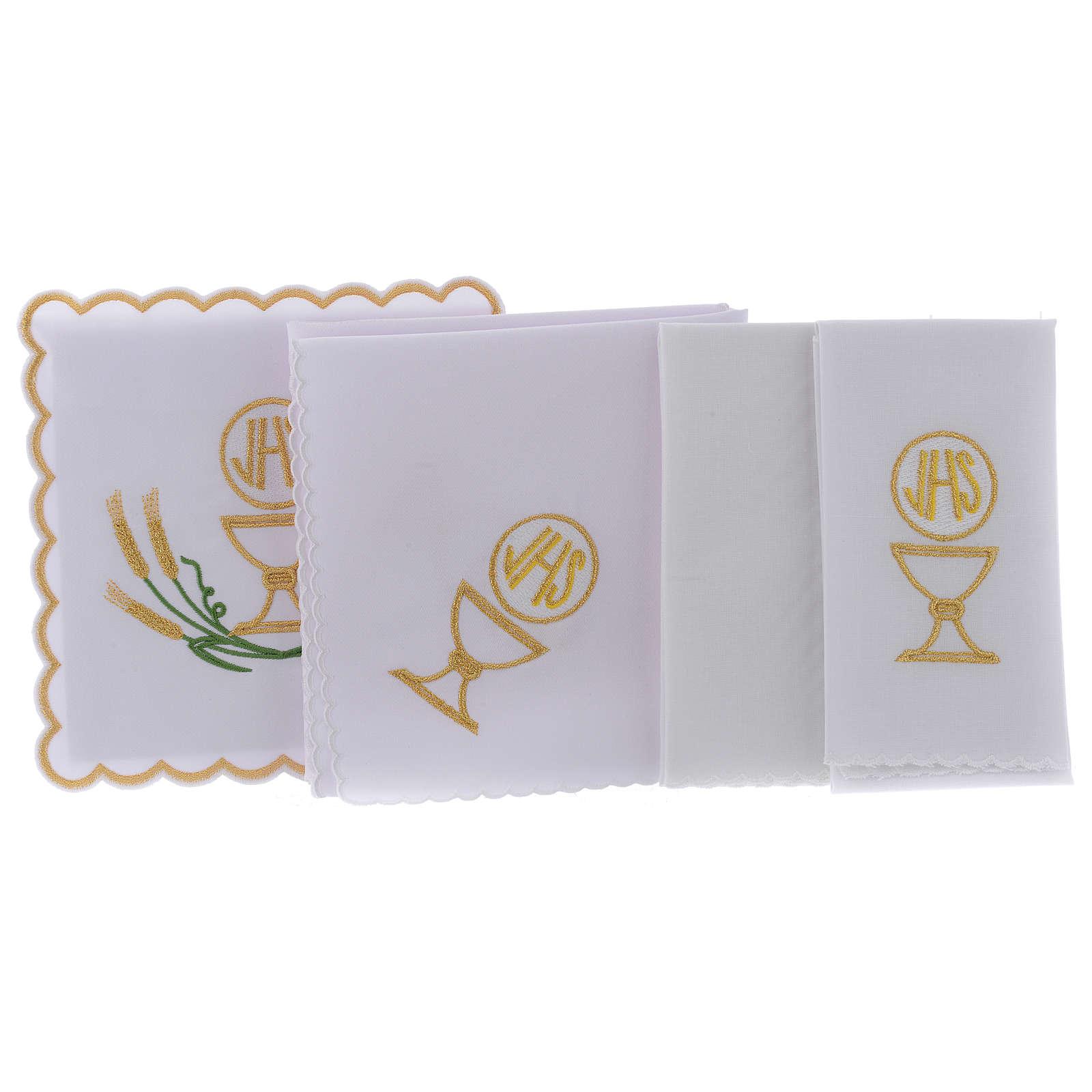 Linge autel coton épis stylisés jaune or vert calice IHS 4