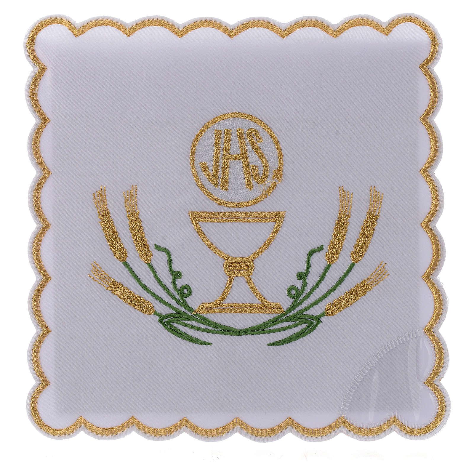 Servizio da altare cotone spighe stilizzate giallo oro verdi calice JHS 4