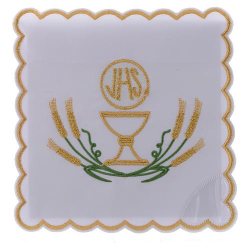 Servizio da altare cotone spighe stilizzate giallo oro verdi calice JHS 1