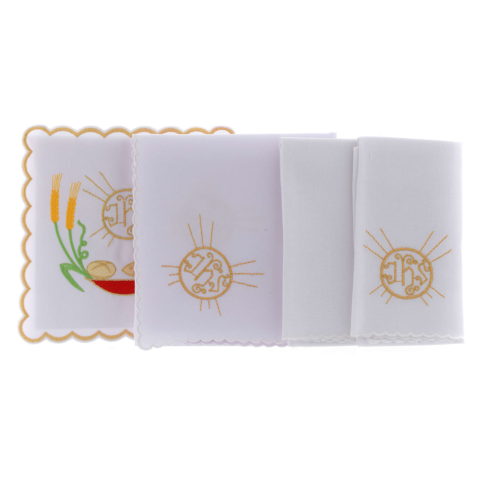 Altar linen loaves & fishes spikes symbol JHS, cotton 4