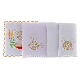 Altar linen loaves & fishes spikes symbol JHS, cotton s2