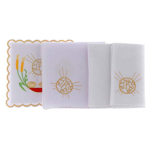 Altar linen loaves & fishes spikes symbol JHS, cotton 2