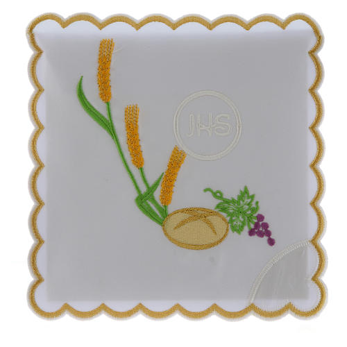 Servicio de altar algodón pan uva espigas símbolo JHS 1