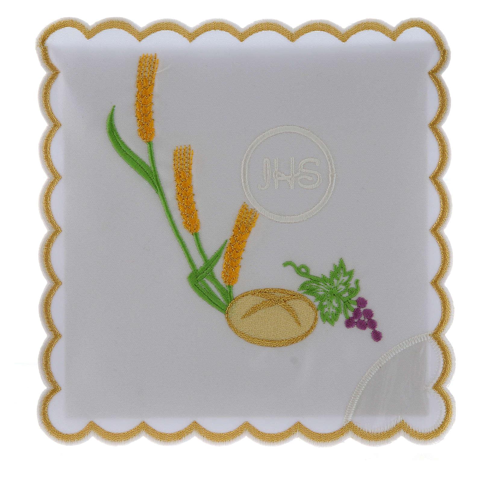 Servizio da altare cotone pane uva spighe simbolo JHS 4