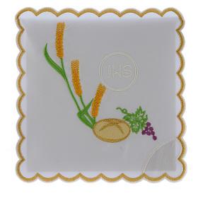 Servizio da altare cotone pane uva spighe simbolo JHS s1