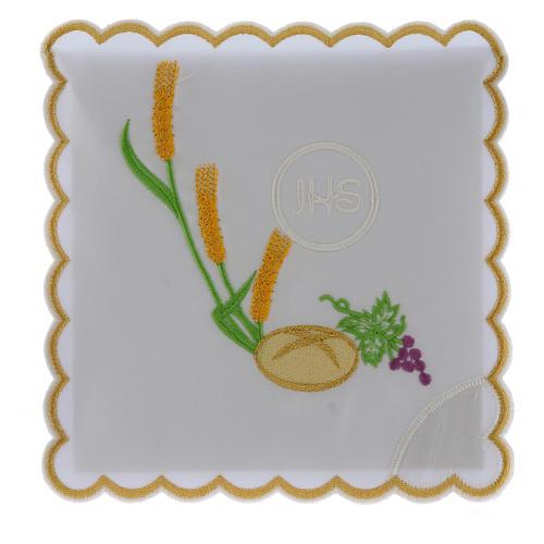 Servizio da altare cotone pane uva spighe simbolo JHS 1