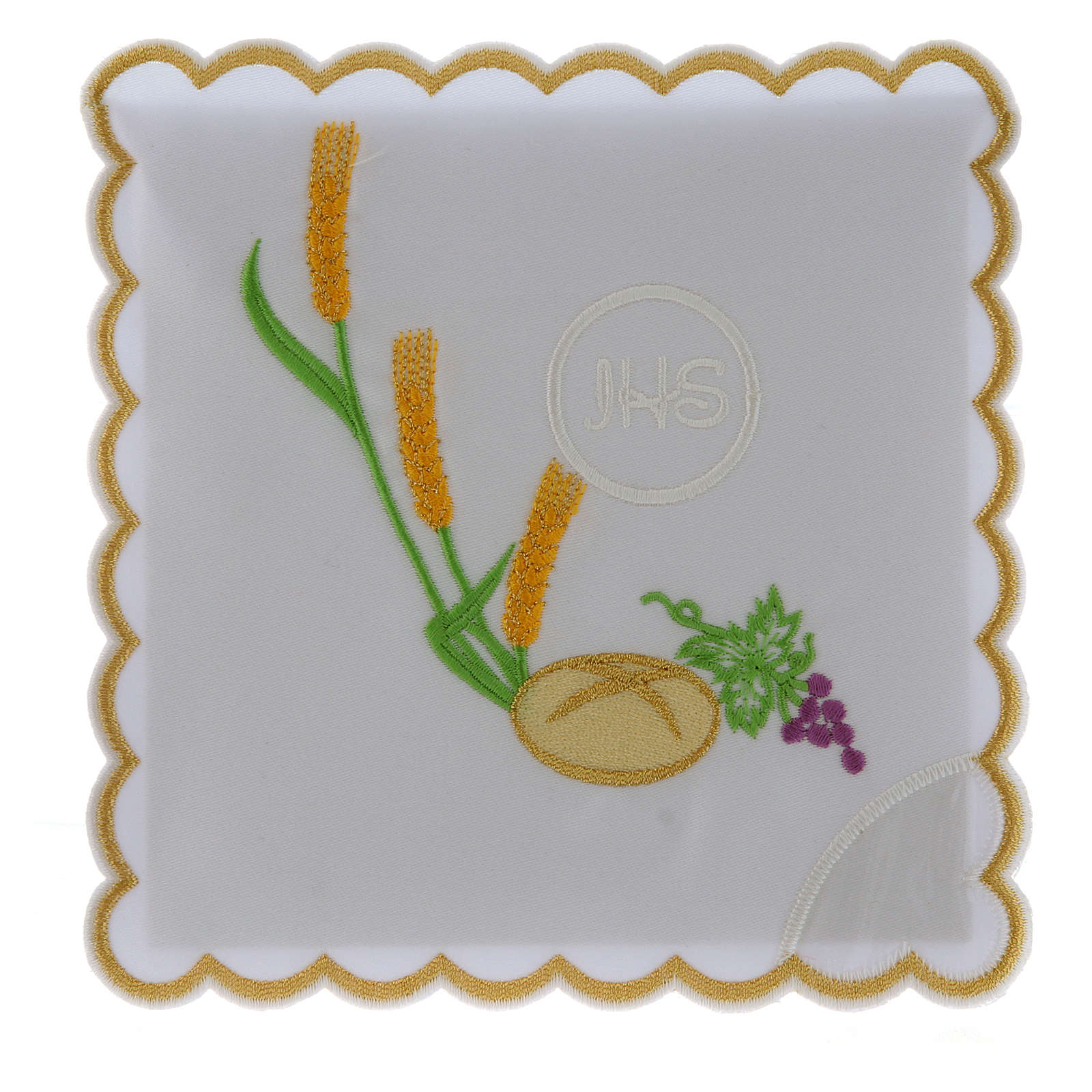 Church linens bread grapes spikes & JHS symbol, cotton 4