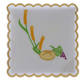 Church linens bread grapes spikes & JHS symbol, cotton s1