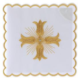 Linges d'autel: Linge autel coton croix dorée style baroque avec rayons