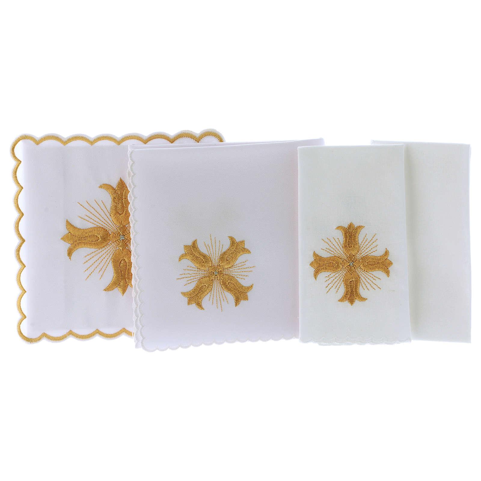 Servizio da altare cotone croce dorata stile barocco con raggi 4