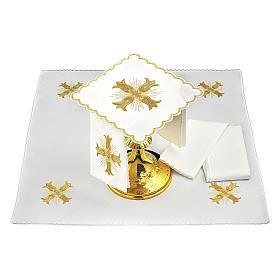 Servizio da altare cotone croce dorata stile barocco con raggi s2