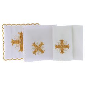 Servizio da altare cotone croce dorata stile barocco con raggi s3