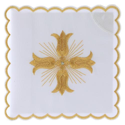 Servizio da altare cotone croce dorata stile barocco con raggi 1