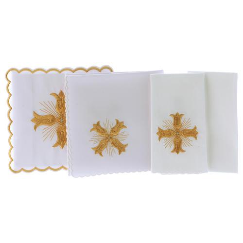 Servizio da altare cotone croce dorata stile barocco con raggi 3