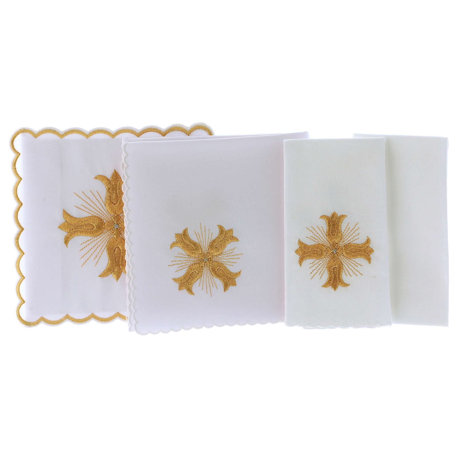 Altar cloths golden cross baroque style with rays, cotton 4