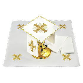 Altar cloths golden cross baroque style with rays, cotton s2