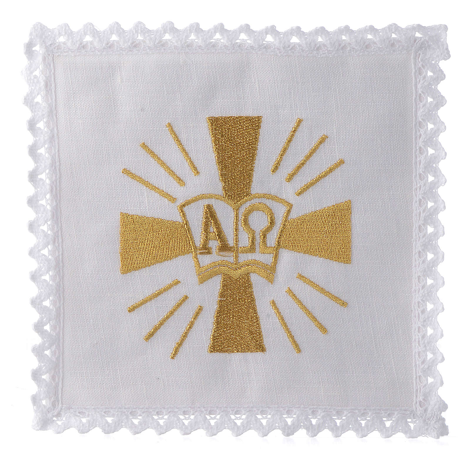 Servizio da altare lino croce simboli Alfa e Omega 4