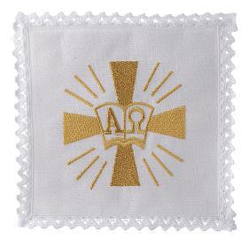Servizio da altare lino croce simboli Alfa e Omega s1