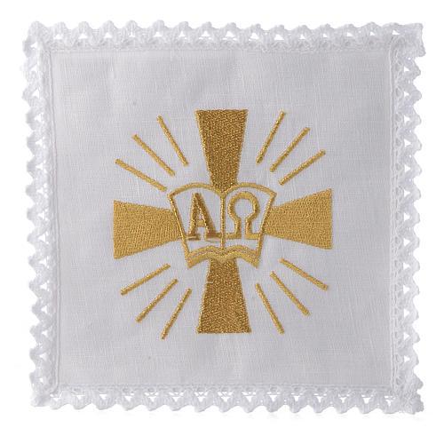 Servizio da altare lino croce simboli Alfa e Omega 1