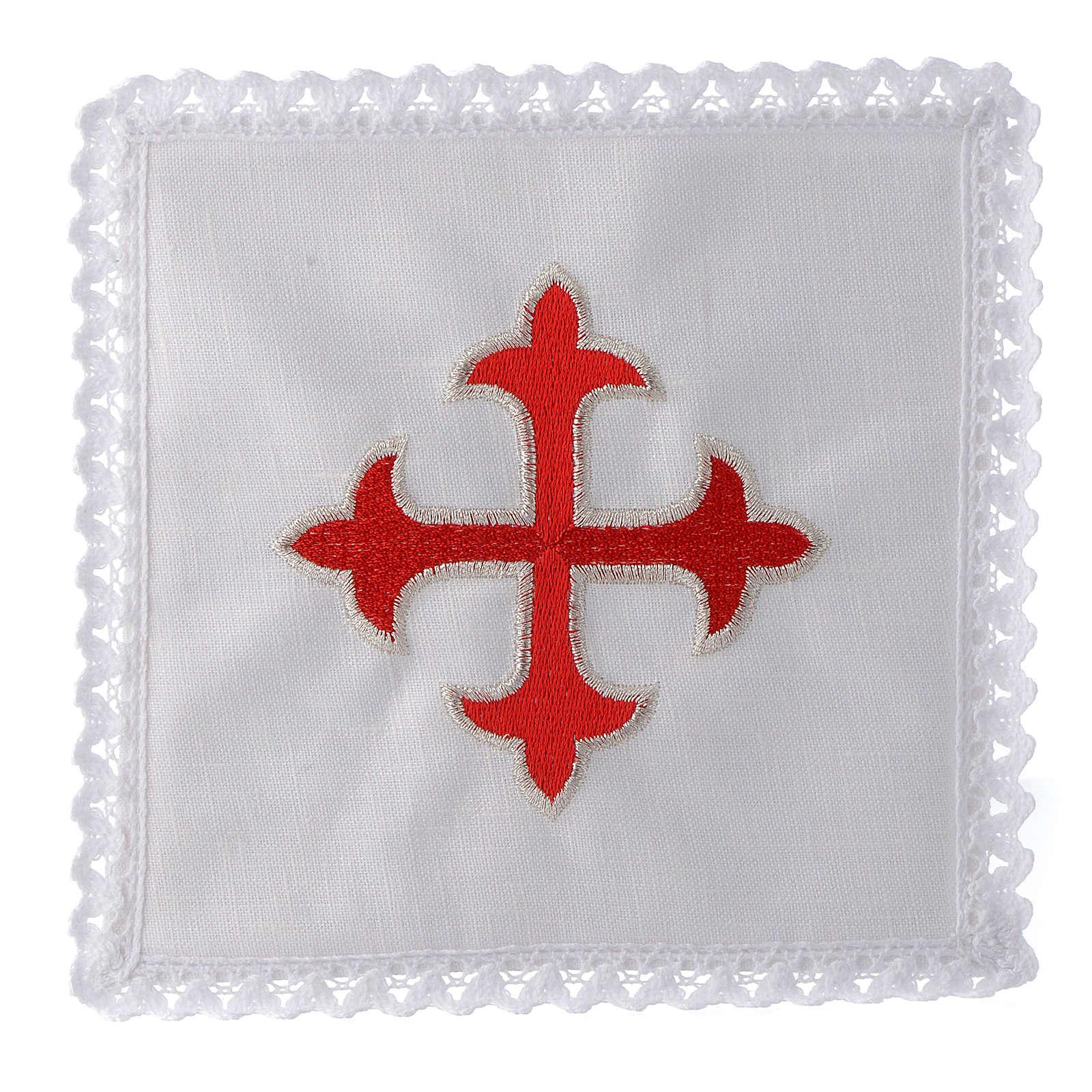 Linge d'autel lin croix baroque or rouge 4