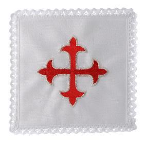 Linge d'autel lin croix baroque or rouge s1