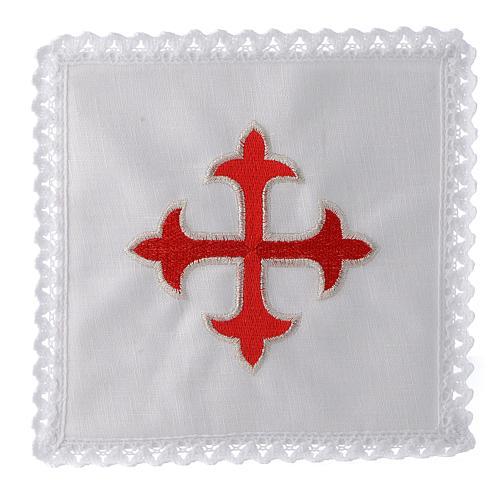Linge d'autel lin croix baroque or rouge 1